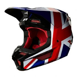 FOX 2019 V1 UNION JACK REGL HELMET RED / WHITE / BLUE / GREY